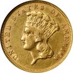 1888 Three-Dollar Gold Piece. AU-58 (NGC).