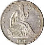 1876 Liberty Seated Half Dollar. WB-105. Type I Reverse. Repunched Date. AU Details--Cleaned (PCGS).