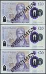 Bank of England, Sarah John, polymer £20, ND (20 February 2020), serial number AA01 000057/58/59, pu