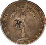 1834-37年菲律宾-智利壹圆银币。伊莎贝尔二世。PHILIPPINES. Philippines - Chile. 8 Reales, ND (1834-37). Isabel II. PCGS