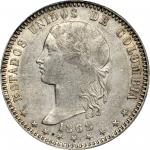 COLOMBIA. 1868 Peso. Bogotá mint. Restrepo 317.1. AU-53 (PCGS).