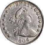 1806 Draped Bust Half Dollar. O-105a, T-5. Rarity-2. Knobbed 6, Large Stars. VF-35 (NGC).