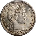 1905 Barber Quarter. MS-67 (PCGS).