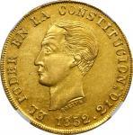 ECUADOR. 8 Escudos, 1852/0-QUITO GJ. Quito Mint. NGC AU-58.