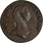 1787 Connecticut Copper. Miller 1.1-A, W-2700. Rarity-3. Mailed Bust Right, Small Head, ETLIB / INDE