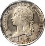 COLOMBIA. Peso, 1870/9. Medellin Mint. PCGS AU-53 Gold Shield.