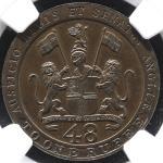 INDIA British India Madras Presidency イギリス領インドマドラス保護領 1/48Rupee 1797 NGC-MS64BN UNC+