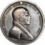 1825 John Quincy Adams Indian Peace Medal. Silver. Third Size. Julian IP-13, Prucha-42. Very Fine.