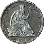 1874 Liberty Seated Half Dollar. Arrows. Proof-66+ (NGC).