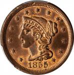 1855 Braided Hair Cent. N-3. Rarity-1. Upright 5s. MS-64 RB (PCGS).