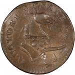 1787 New Jersey copper. Maris 73-aa. Rarity-4. Plaited Mane. Overstruck on 1788 Vermont copper, RR-1