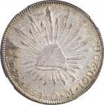 1854-Zs OM年墨西哥鹰洋壹圆银币。萨卡特卡斯造币厂。 MEXICO. 8 Reales, 1854-Zs OM. Zacatecas Mint. NGC MS-61.