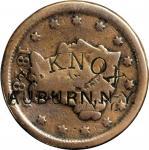 T. KNOX (curved) / AUBURN. N-Y. on an 1848 Braided Hair large cent. Brunk K-307, Rulau NY-Au 7. Host