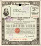 United States of America. Under the Second Liberty Loan Act. $100 Series E Ten Years War Savings Bon