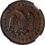 1837 Half Cent. HT-73, Low-49, W-11-710a. Rarity-1. Copper. Plain Edge. 23.5 mm. MS-61 BN (NGC).