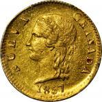 COLOMBIA. 1857 2 Pesos. Popayán mint. Restrepo 204.1. MS-62 (PCGS).