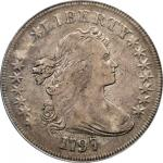 1797 Draped Bust Silver Dollar. BB-73, B-1. Rarity-3. Stars 9x7, Large Letters. VF-25 (PCGS). CAC.