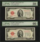 Lot of (2) Fr. 1507. 1928F $2  Legal Tender Note. PMG Choice About Uncirculated 58 EPQ & Gem Uncircu