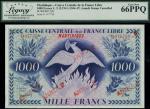 Caisse Centrale de la France Libre, Martinique, 1000 francs, ND (1946), red serial number TA 077797,