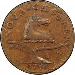 1788 New Jersey copper. Maris 67-v. Rarity-1. Horses Head Right, Brushed Mane. AU-50 (PCGS).