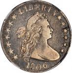 1806 Draped Bust Half Dollar. O-107a, T-3. Rarity-4+. Knobbed 6, Small Stars. VF-25 (NGC).