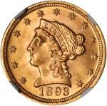 1893 Liberty Quarter Eagle. MS-65 (NGC).