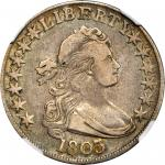 1803 Draped Bust Half Dollar. O-102a, T-2. Rarity-3+. Large 3, Small Reverse Stars. VF-25 (NGC).