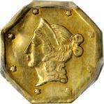 1854-DERI Octagonal $1. BG-529. Rarity-8. Liberty Head. AU Details--Damage (PCGS).