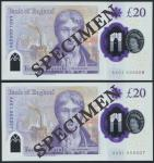 Bank of England, Sarah John, polymer £20, ND (20 February 2020), serial number AA01 000206/207, purp