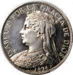SPAIN. Silver Fantasy 4 Pesetas, 1894. Isabel II. PCGS PROOF-62 Cameo Gold Shield.