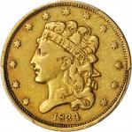 1834 Classic Head Half Eagle. McCloskey-4. First Head, Large Plain 4. VF Details--Scratch (PCGS).