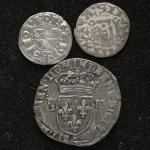 FRANCE Henry IV アンリ4世 (1589~1610) 1/4Ecu 1602;ほかAR Denier2枚 返品不可 要下見 Sold as is No returns 縁に平金破損 F~