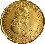 COLOMBIA. 8 Escudos, 1757-NR J. Nuevo Reino Mint. Ferdinand VI. NGC AU-55.