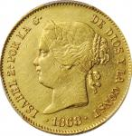 PHILIPPINES. 4 Pesos, 1868/58. Isabel II. PCGS Genuine--Cleaned, EF Details Gold Shield.