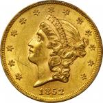1852 Liberty Head Double Eagle. FS-301. Repunched Date. AU-58+ (PCGS).  CAC.