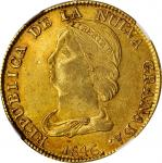 1846-UM年哥伦比亚16比索金币。波帕扬造币厂。COLOMBIA. 16 Pesos, 1846-UM. Popayan Mint. NGC AU-53.
