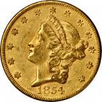1854 Liberty Head Double Eagle. Large Date. AU-53 (PCGS).