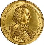 "1710年俄罗斯彼得一世大帝降服雷瓦尔胜利金章。RUSSIA. Peter I (the Great)/Capture of Reval (Tallinn) Gold Medal, ""1710"" (i"