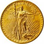 1908 Saint-Gaudens Double Eagle. Motto. MS-64 (PCGS).