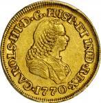 COLOMBIA. 1770-J 2 Escudos. Popayán mint. Carlos III (1759-1788). Restrepo 58.16. AU-50 (PCGS).