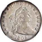 1806 Draped Bust Half Dollar. O-106, T-4. Rarity-4. Knobbed 6, Small Stars. VF-30 (NGC).