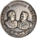 1909 Meeting of Presidents Taft and Diaz. Spanish Reverse Variety. Silver. 38 mm. HK-388a. Rarity-7.