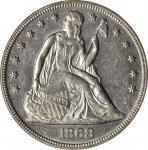 1868 Liberty Seated Silver Dollar. OC-5. Rarity-3-. AU-58 (PCGS).