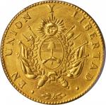 ARGENTINA. La Rioja. 8 Escudos, 1840-R. PCGS Genuine--Cleaned, AU Details Secure Holder.