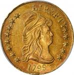 1799 Capped Bust Right Eagle. BD-7, Taraszka-19. Rarity-3. Small Obverse Stars. AU Details--Scratch