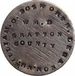 WILLIAM . O . BOSWORTH . LEBANON . NH / WM. B / GRAFTON / COUNTY on the planed off reverse of an 182
