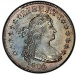 1806/5 Draped Bust Quarter. Browning-1. Rarity-2. Mint State-66 (PCGS).PCGS Population: 1, none fine