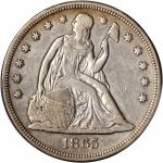 1865 Liberty Seated Silver Dollar. OC-2. Rarity-2. VF-30 (PCGS).
