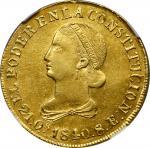 ECUADOR. 8 Escudos, 1840-QUITO MV. Quito Mint. NGC AU-58.