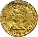 COLOMBIA. 1844-UM 2 Pesos. Popayán mint. Restrepo 202.9. MS-64 (PCGS).